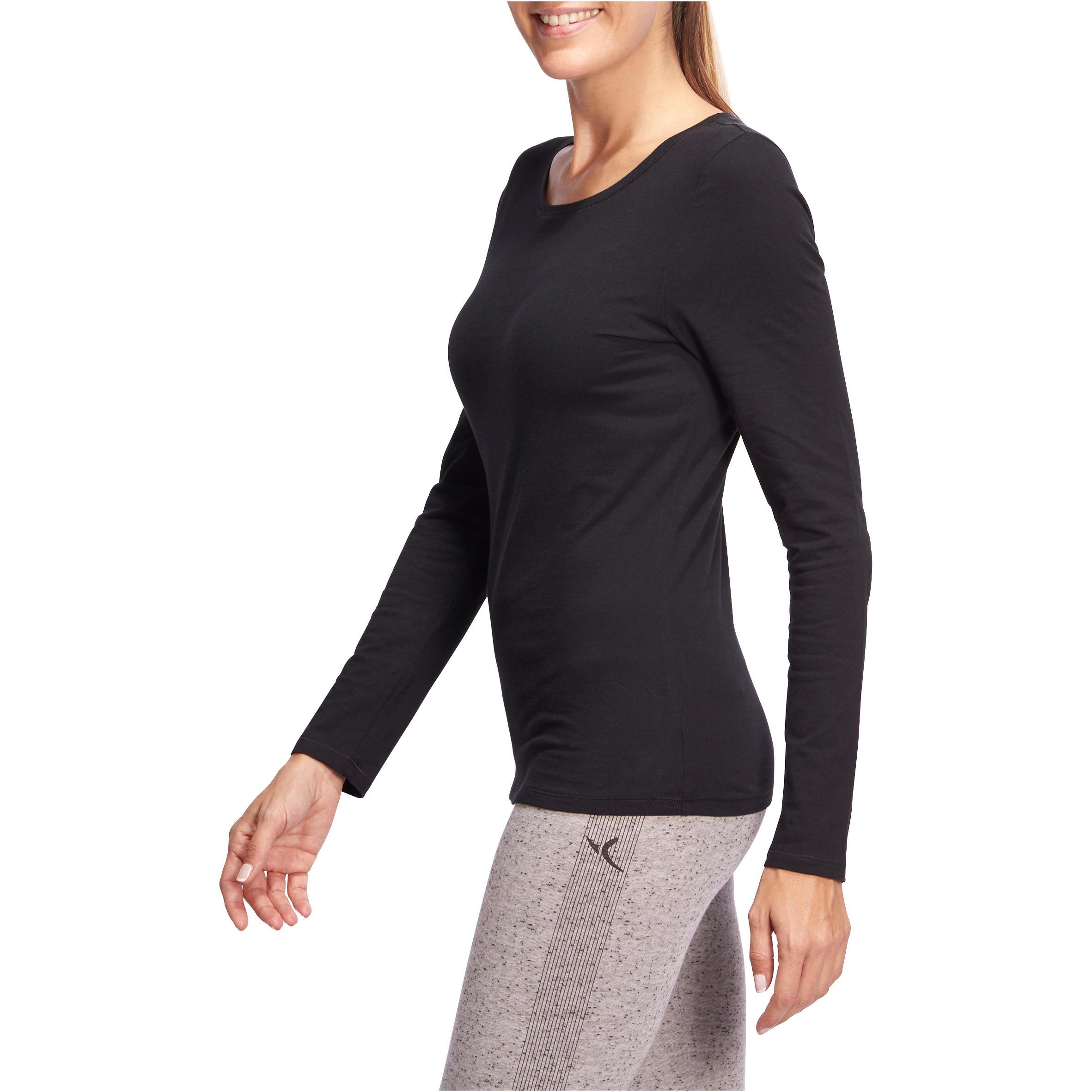 100 Women's Long-Sleeved Stretching T-Shirt - Black