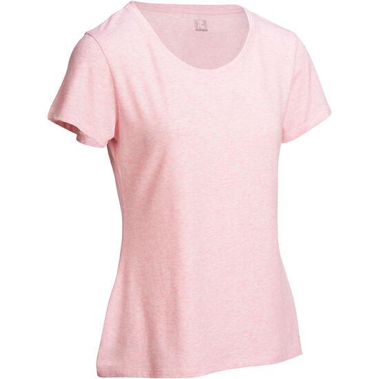 Dames T-shirt met korte mouwen voor gym en pilates, regular fit, gemêleerd - 1098345