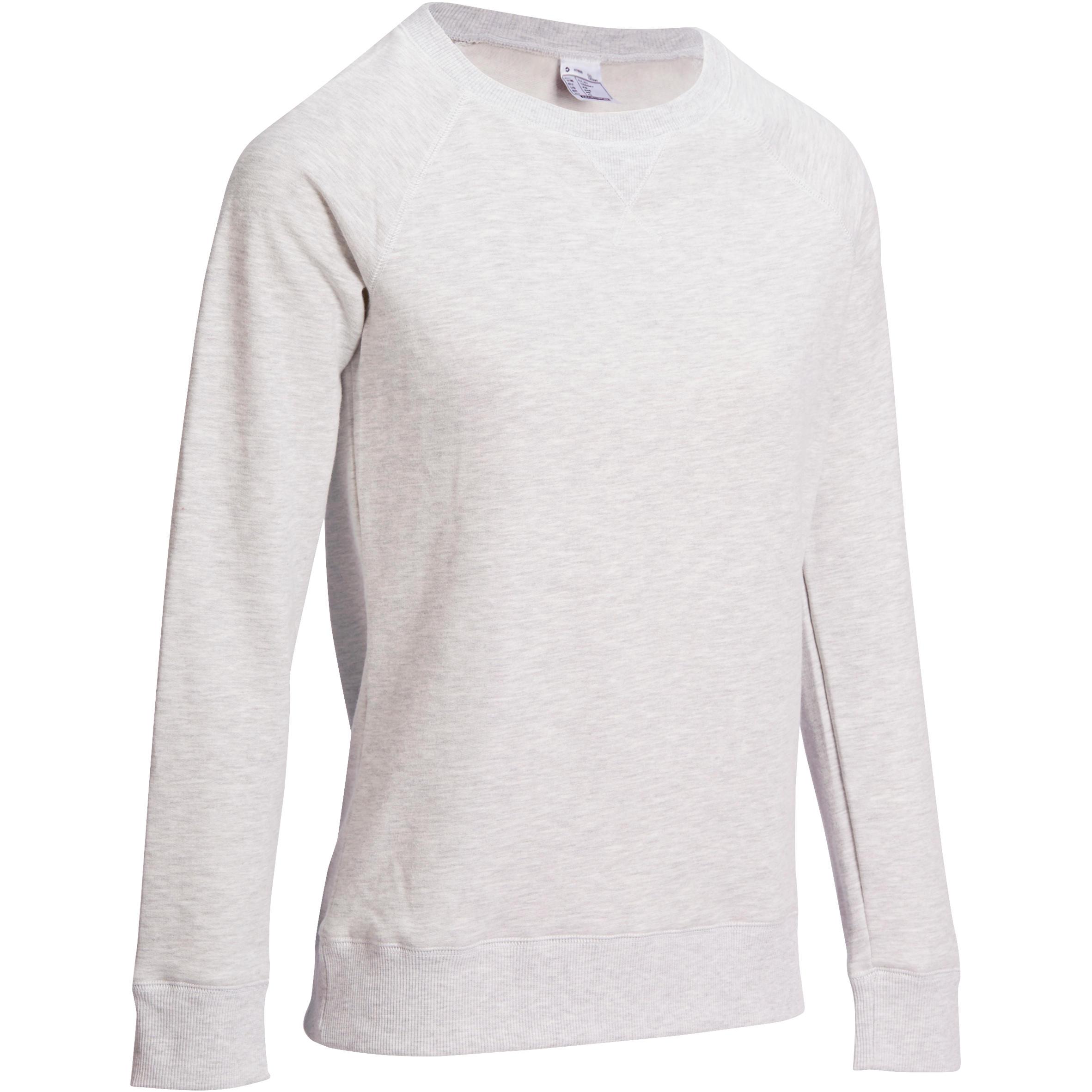 Domyos Damessweater 100 met ronde hals voor gym en pilates