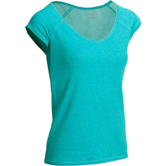 Dames T-shirt voor gym en pilates, slim fit - 1098488