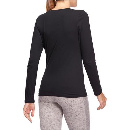 Kaus Pilates & Gym Lengan Panjang Wanita 100 - Hitam