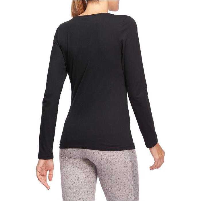 Camiseta Manga Larga Gimnasia Y Pilates Domyos 100 Con Algodón Mujer Negro