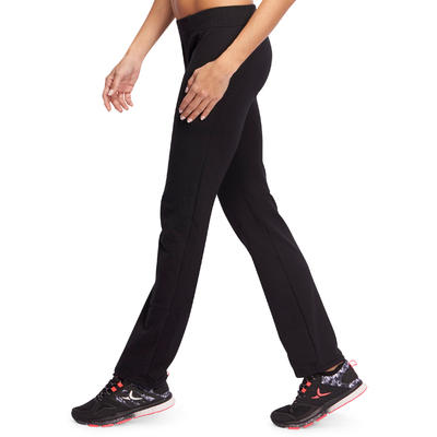 מכנסי בסיס נשים לחדר כושר ולשיעור פילאטיס - שחור