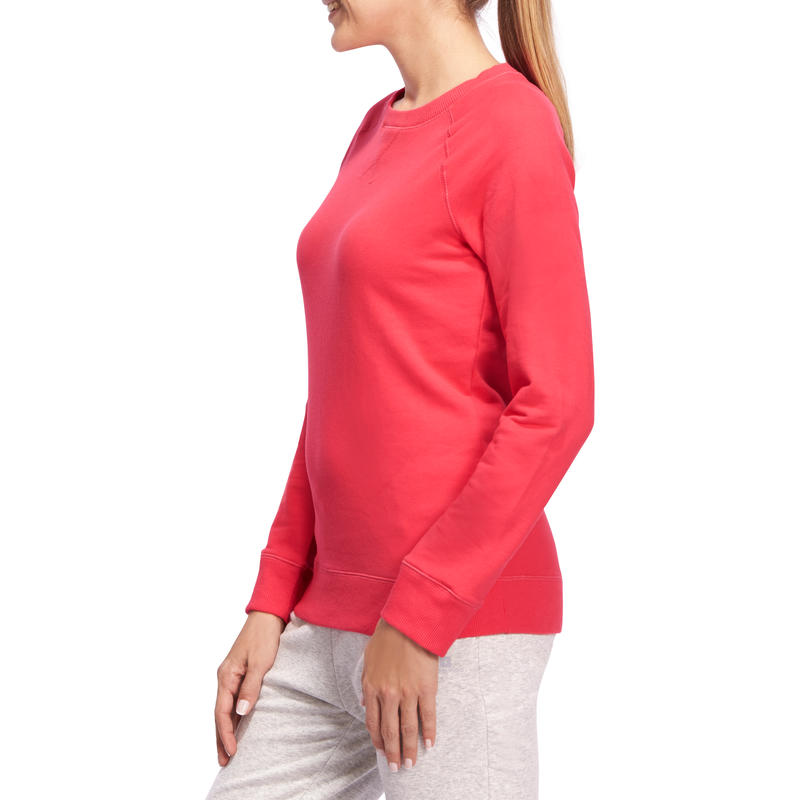 100 Women's Crew Neck Gym & Pilates Sweatshirt - Pink