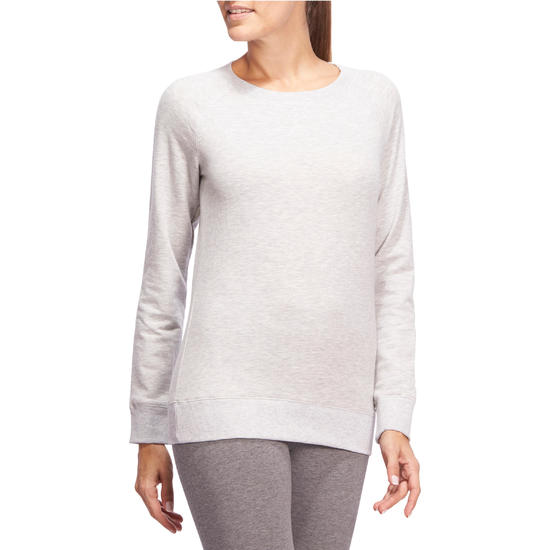 Sweater met ronde hals gym en pilates dames - 1098813