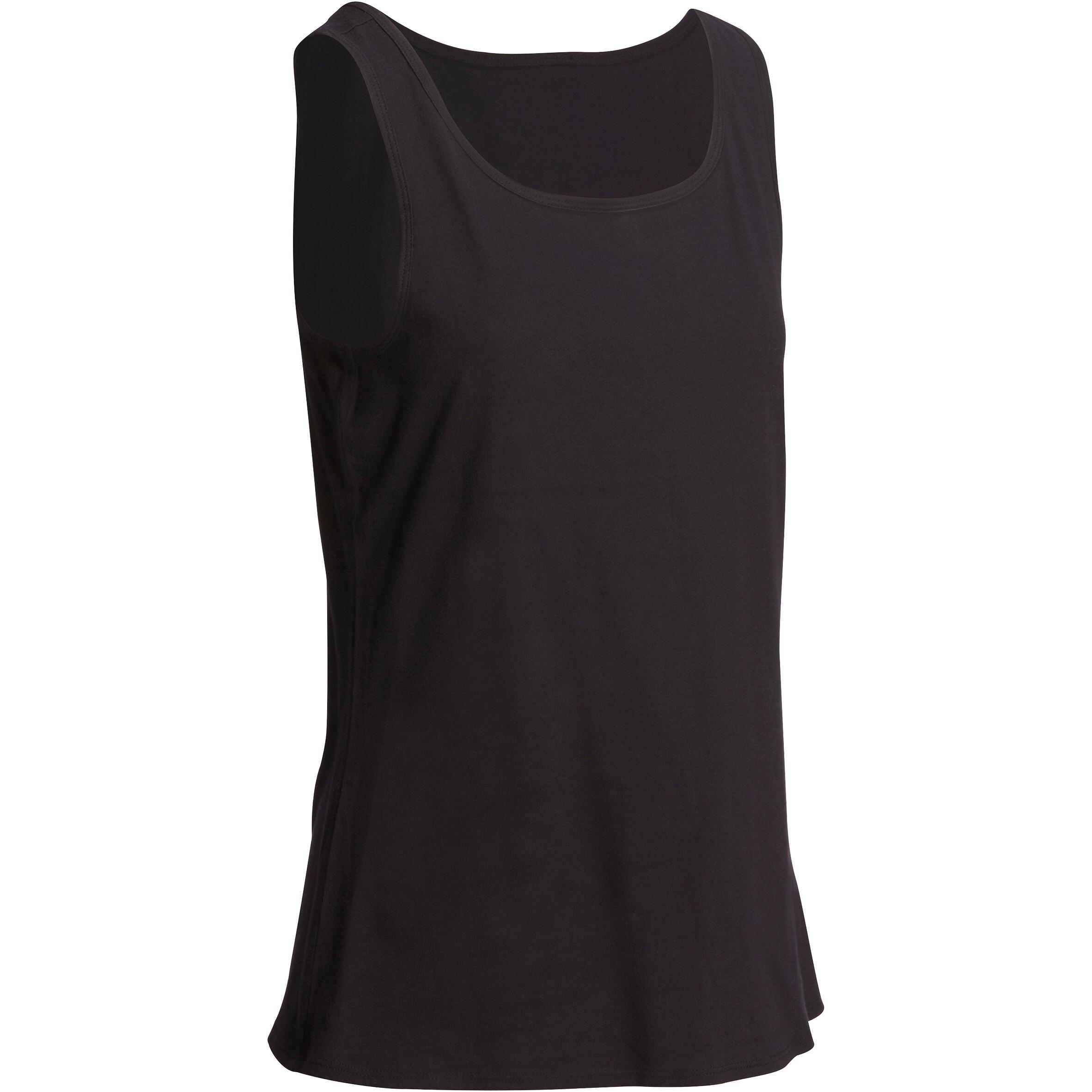 Camiseta sin mangas gimnasia y pilates mujer negro