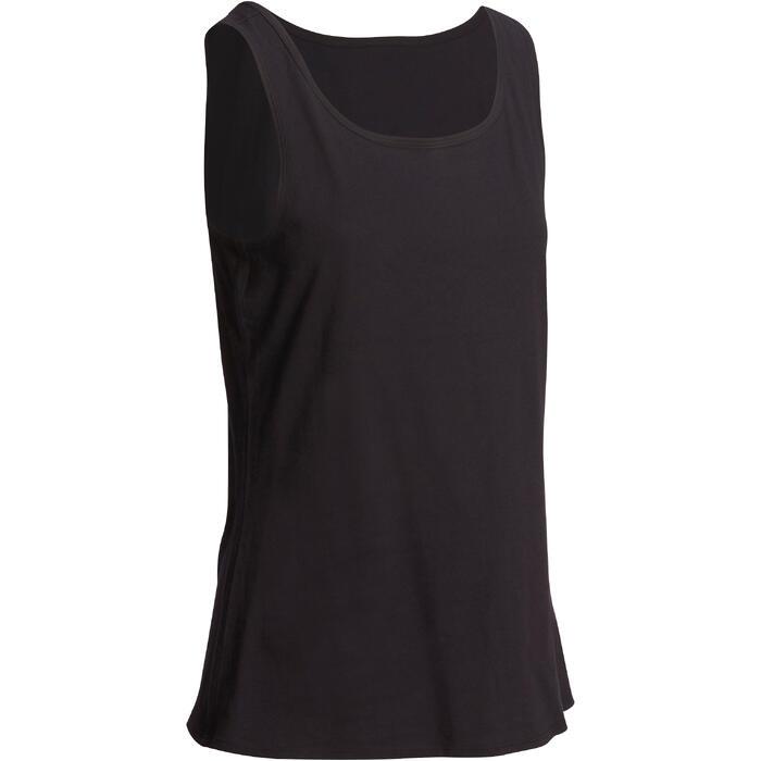 Topje voor pilates en lichte gym dames 100 regular fit zwart