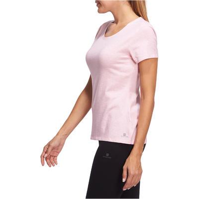 T-Shirt 500 regular Pilates Gym douce femme rose clair