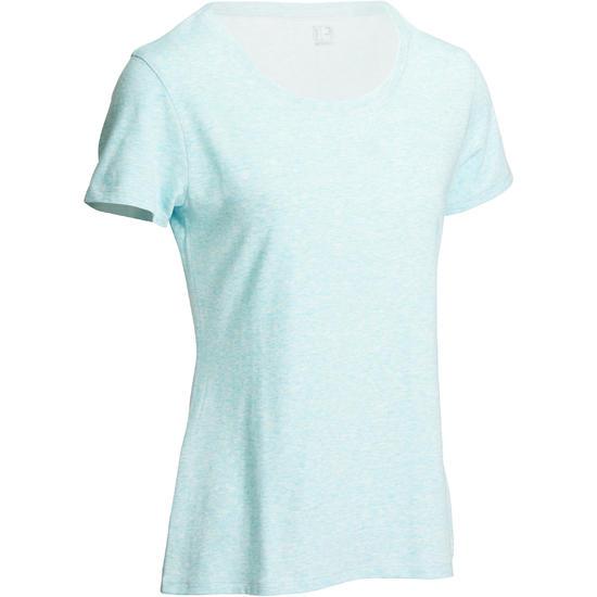 Dames T-shirt met korte mouwen voor gym en pilates, regular fit, gemêleerd - 1098901