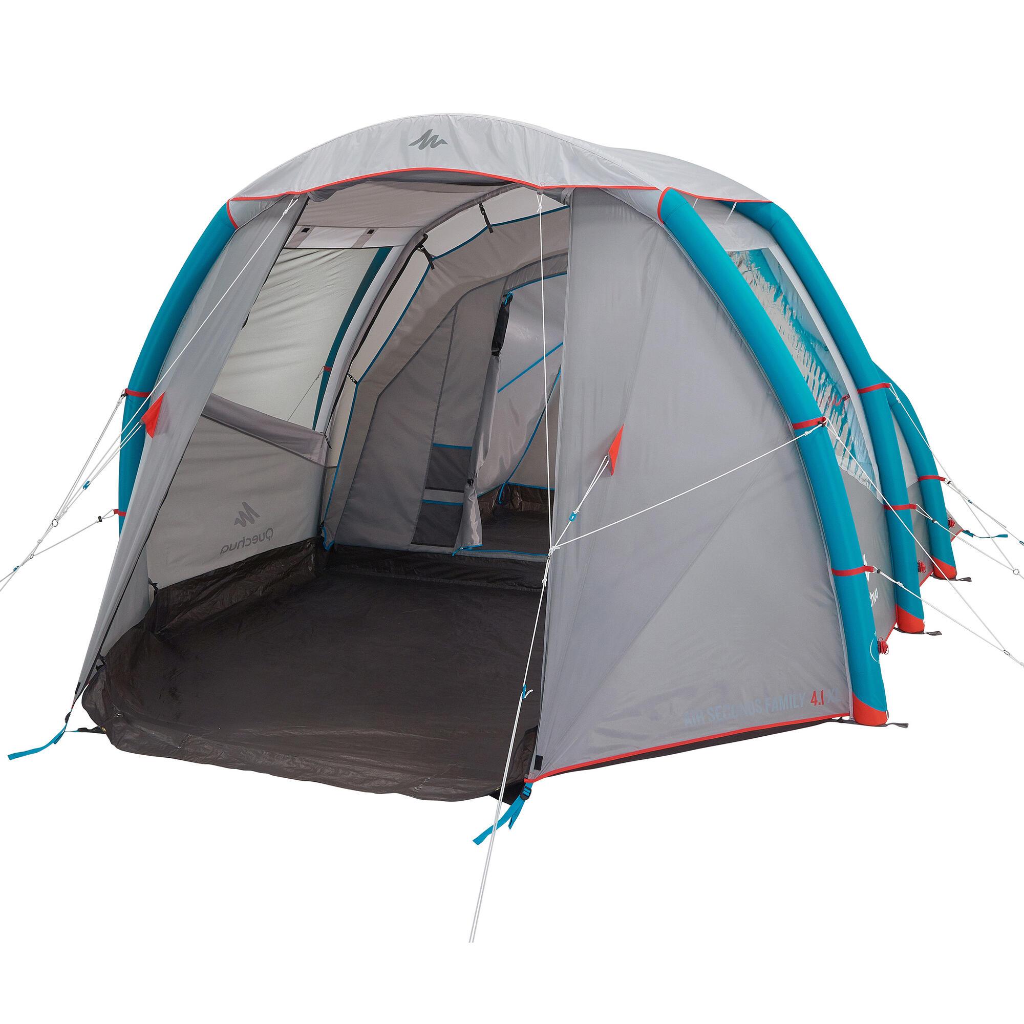 air seconds 4 1 xl family camping tent 4 person quechua. Black Bedroom Furniture Sets. Home Design Ideas