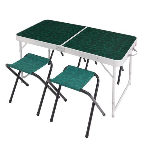 Camping hiking table for 4 persons with 4 seats green quechua for Table quechua
