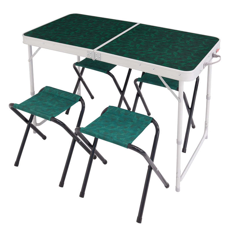 BASE CAMP FURNITURE Camping - Folding Table 4 Pers, 4 Seats QUECHUA - Camping Furniture and Equipment