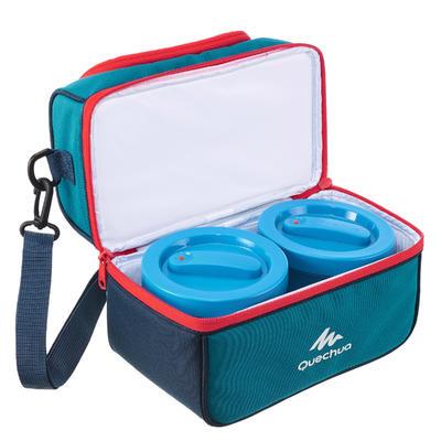 Glacière Lunch box randonnée (avec 2 boîtes alimentaires) 4,4 L bleu/rouge