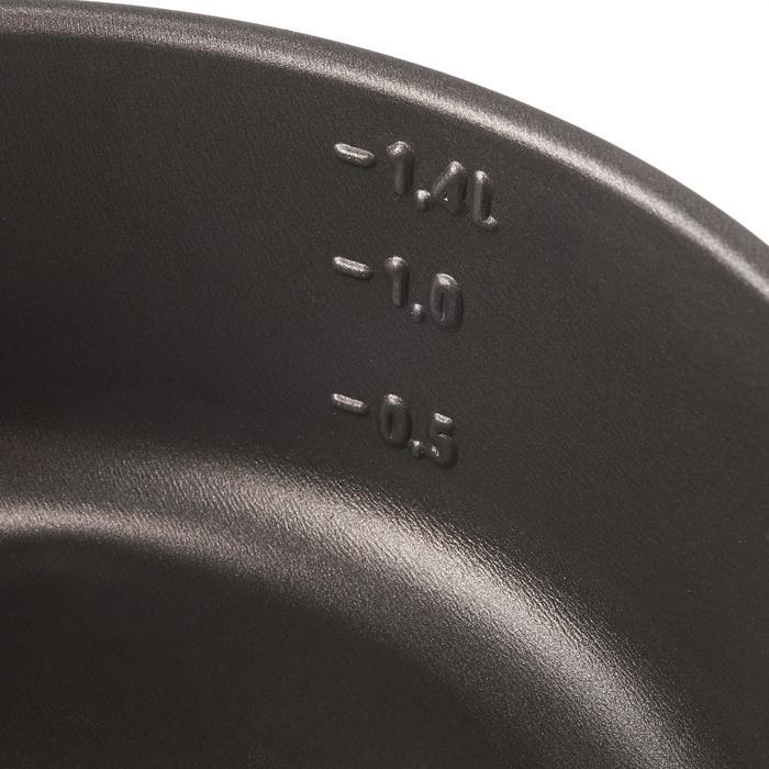 Kookset voor trekkers aluminium met antikleeflaag, 2 personen (1,4 liter)