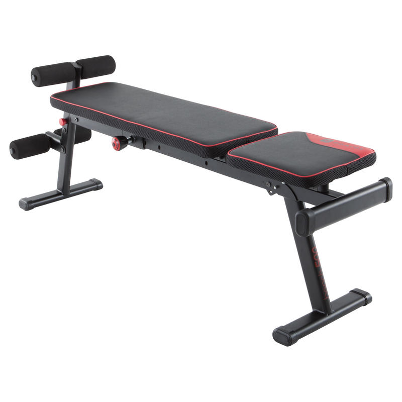 Weight Lifting Fold-Down / Incline Bench 500 - Black with Red Accent
