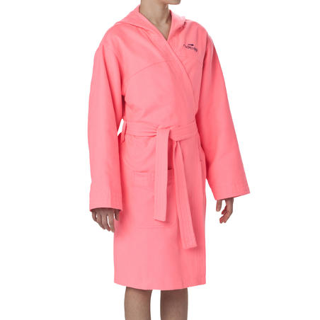Junior ultra compact microfibre bathrobe with hood and belt - Pink