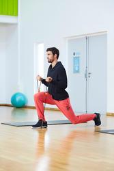 Herenbroek voor gym en pilates, slim fit, gemêleerd - 1099871