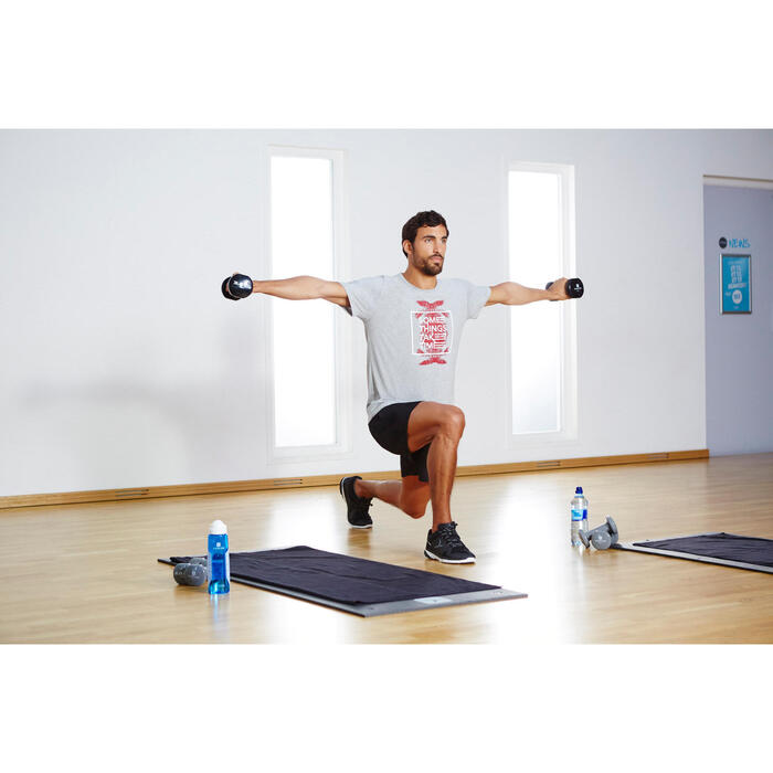 Pantalón Corto Gimnasia y Pilates Domyos 100 Regular Medio Muslo Hombre Gris