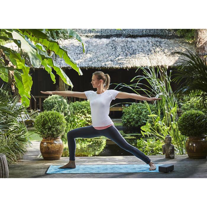 T shirt yoga doux femme en coton issu de l'agriculture biologique noir - 1099899