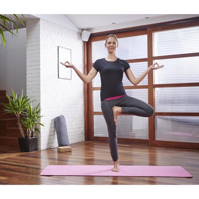 T shirt yoga doux femme en coton issu de l'agriculture biologique noir - 1099901