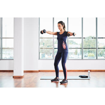 T-shirt galbant SHAPE+ fitness femme noir et violet - 1099927