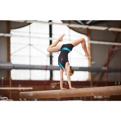 Justaucorps sans manches Gymnastique Féminine noir/turquoise sequins