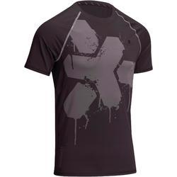 "Camiseta fitness hombre negro estampado gris ""MUSCLE"""