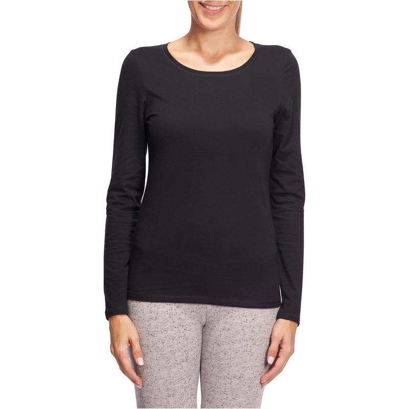 buy online nice cheap look good shoes sale Vêtements femme - T-shirt 100 manches longues Pilates Gym douce femme noir