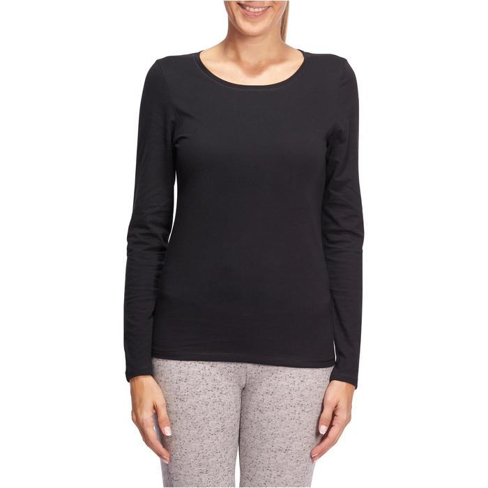 Dames T-shirt 100 met lange mouwen voor gym en stretching zwart