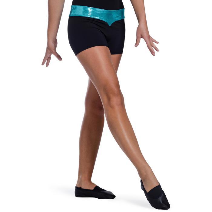 Shorty Gymnastique Féminine (GAF et GR) paillettes noir/turquoise. - 1101028