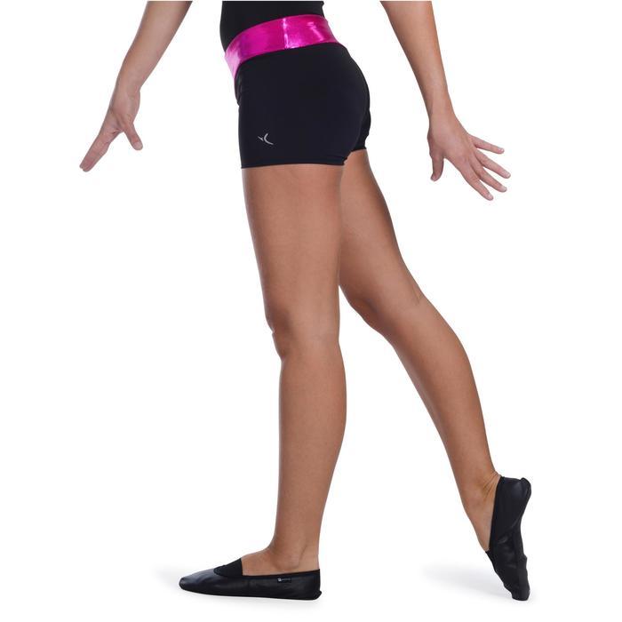 Shorty Gymnastique Féminine (GAF et GR) paillettes noir/turquoise. - 1101056