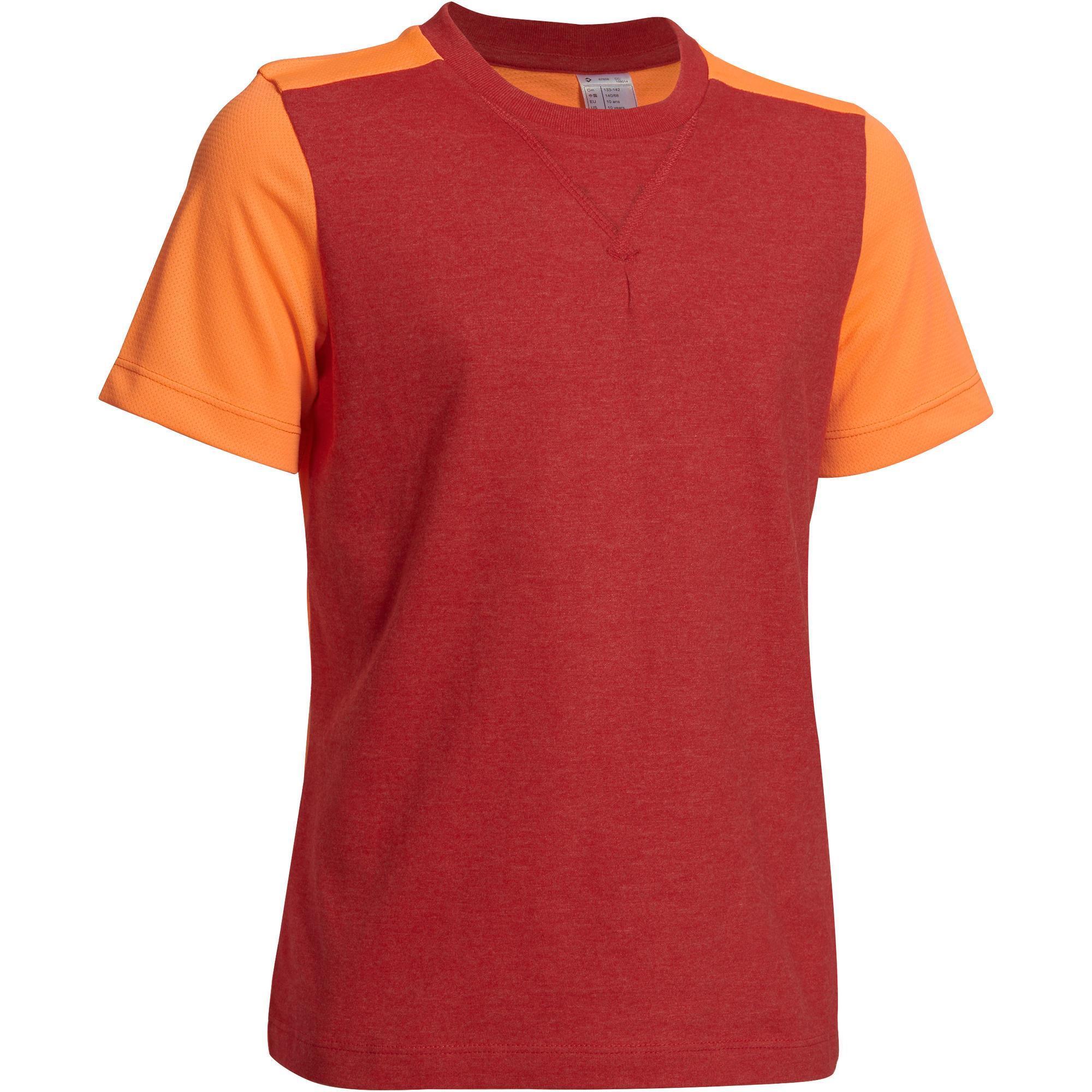 Boys 39 Short Sleeved Gym T Shirt Red Orange Domyos By