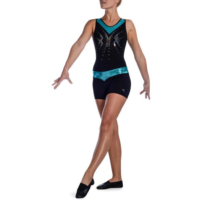 Shorty Gymnastique Féminine (GAF et GR) paillettes noir/turquoise. - 1101081