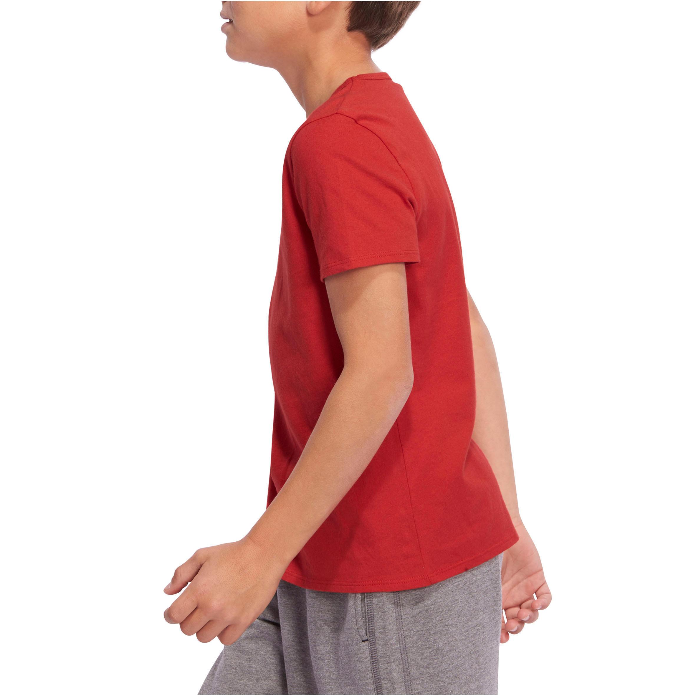 100 Boys' Short-Sleeved Gym T-Shirt - Red