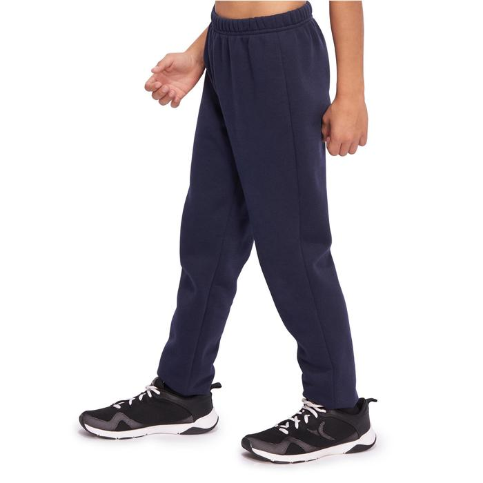 Jogginghose 100 Gym Warm'y Baumwolle Kinder marineblau