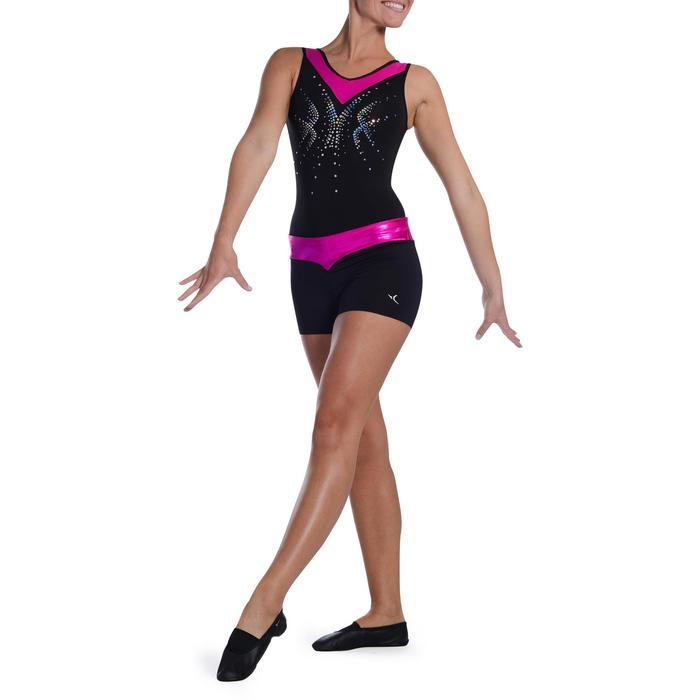 Shorty Gymnastique Féminine (GAF et GR) paillettes noir/turquoise. - 1101144
