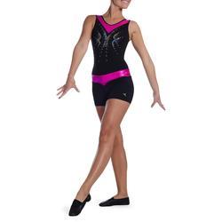 Malla short de gimnasia femenina (GAF y GR) lentejuelas negro/rosa