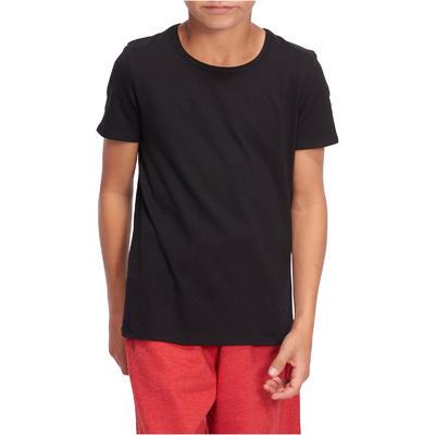 100 Boys' Short-Sleeved Gym T-Shirt - Black