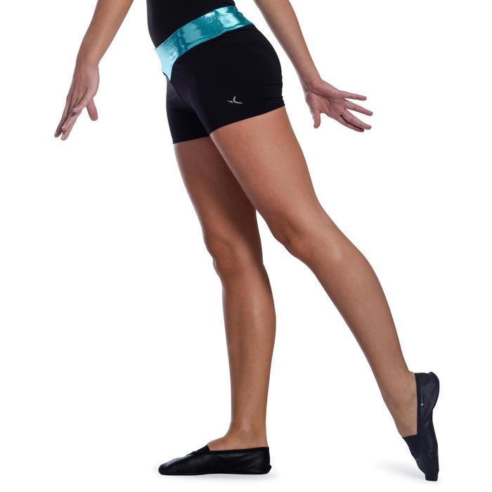 Shorty Gymnastique Féminine (GAF et GR) paillettes noir/turquoise. - 1101204