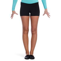 Malla short de gimnasia femenina (GAF y GR) negro lentejuelas