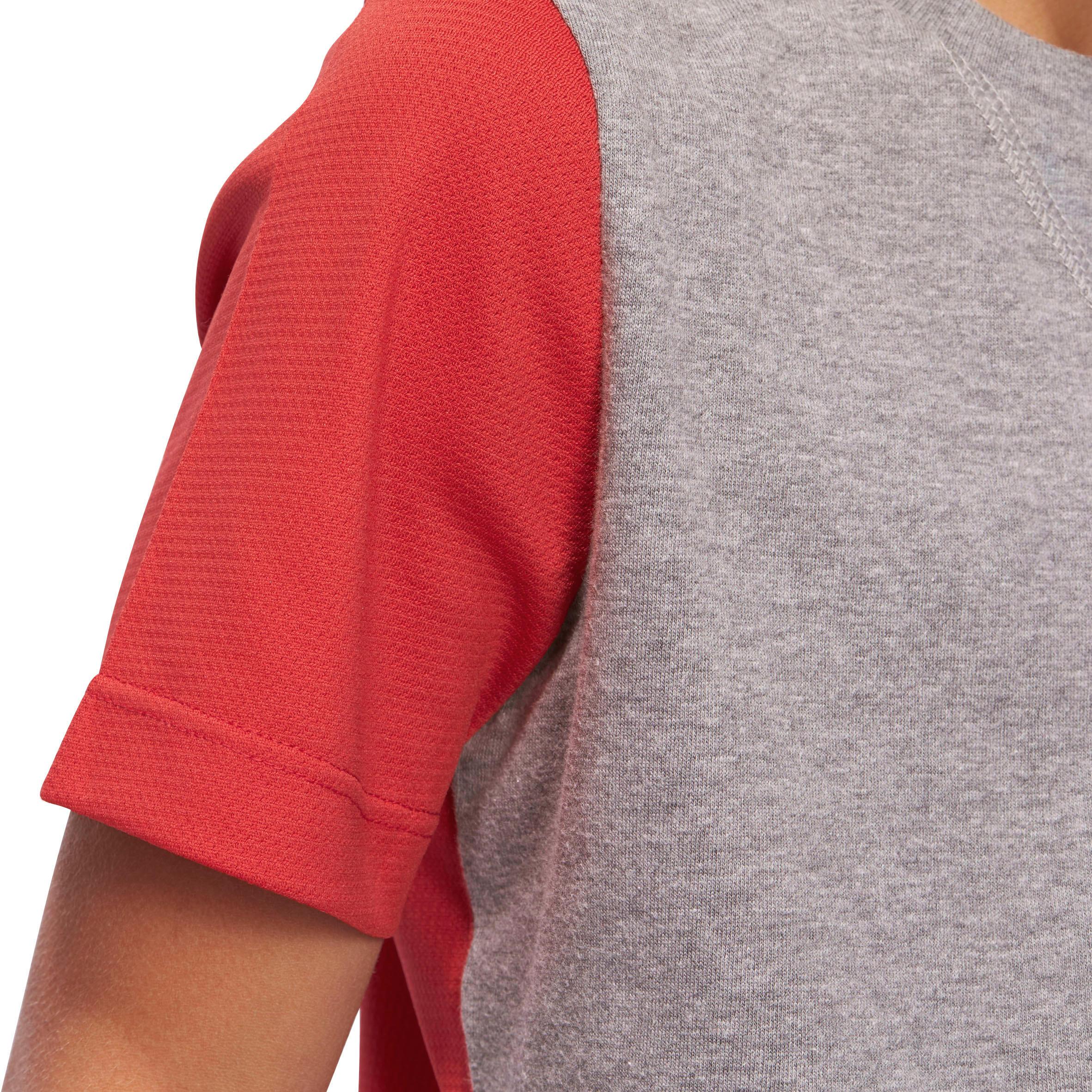 Boys' Gym Short-Sleeved T-Shirt - Grey/Red