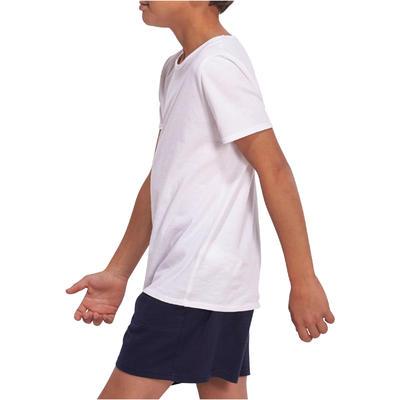 تيشرت الجمنازيوم بأكمام قصيرة DOMYOS للأولاد - أبيض