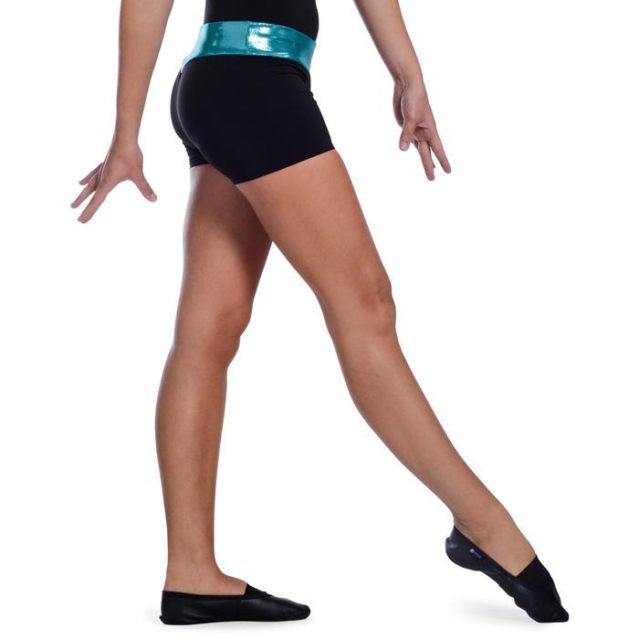 Shorty Gymnastique Féminine (GAF et GR) paillettes noir/turquoise. - 1101688