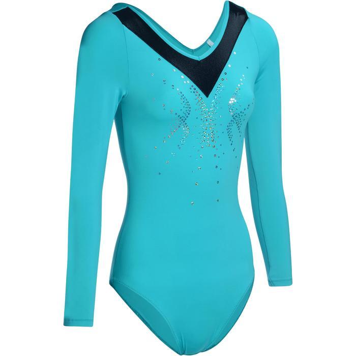 Justaucorps manches longues gym (GAF et GR) turquoise Sequins