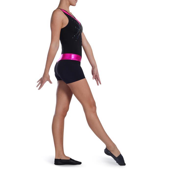 Shorty Gymnastique Féminine (GAF et GR) paillettes noir/turquoise. - 1101839