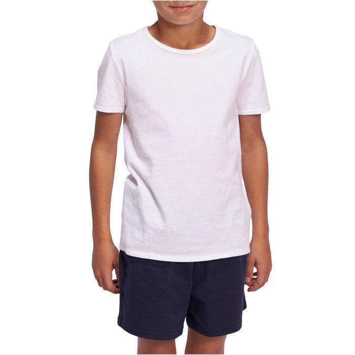Camiseta de Manga Corta Gimnasia Domyos 100 Niño Blanco