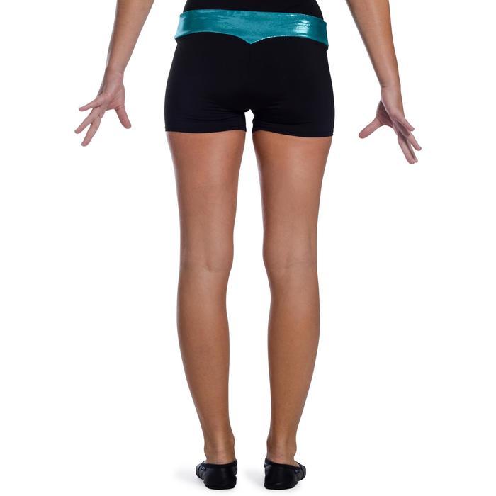 Shorty Gymnastique Féminine (GAF et GR) paillettes noir/turquoise. - 1101896