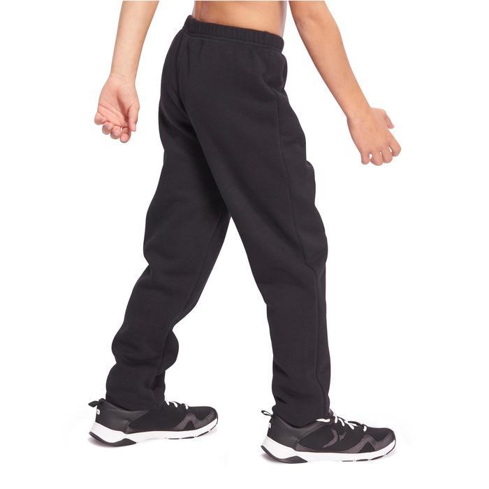 Pantalón de felpa 100 gimnasia niño negro Warm'y