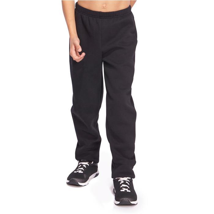 Jogginghose Slim warm 100 Gym Kinder schwarz