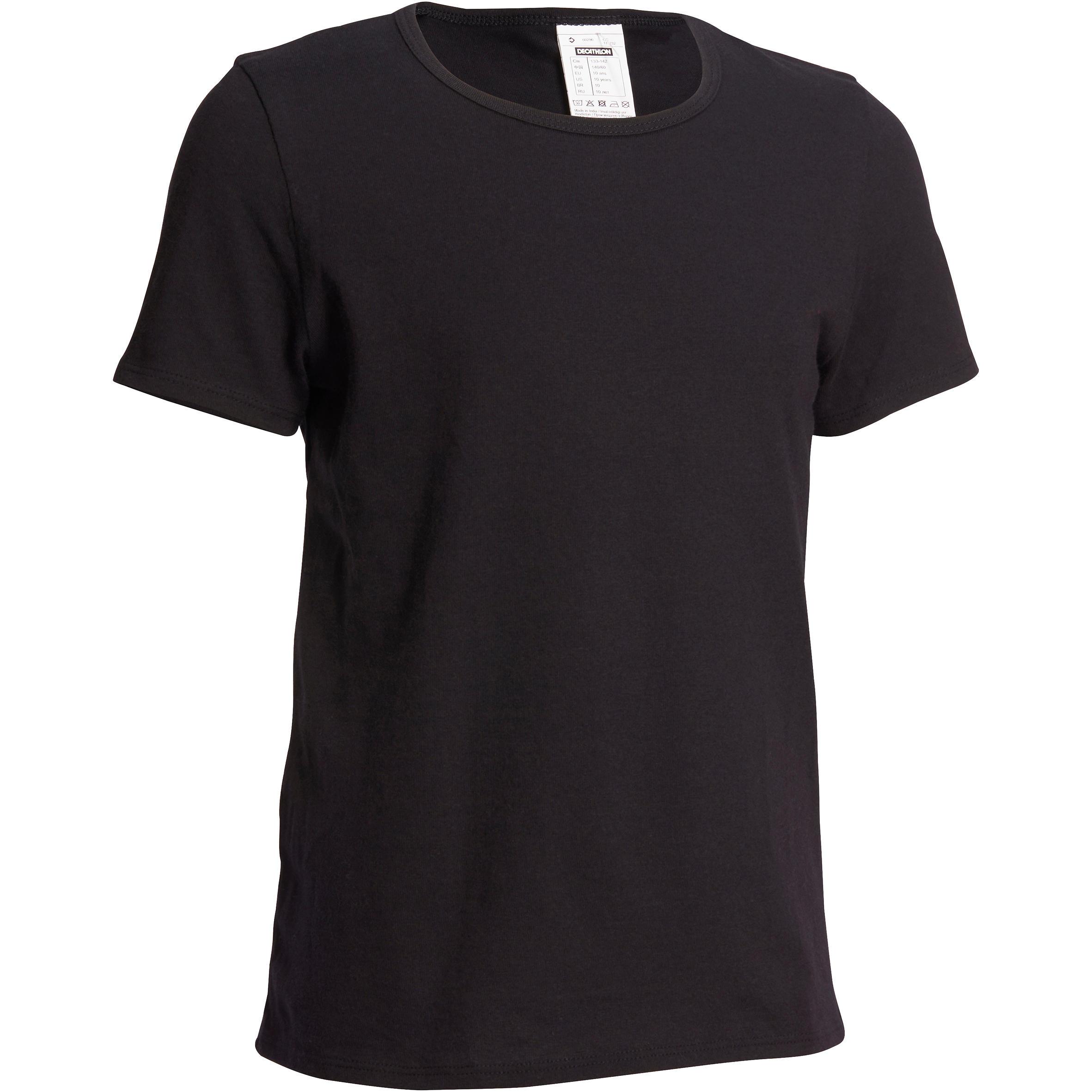Camiseta de manga corta gimnasia niño negro